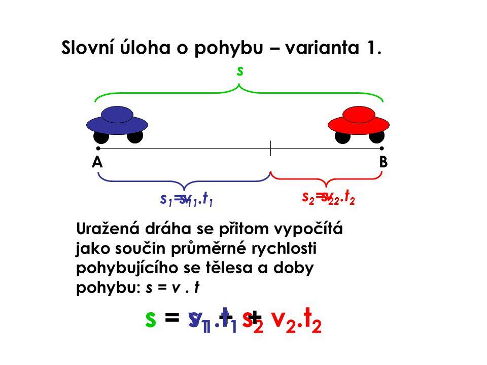 Slovní úloha o pohybu – varianta 1. AB s1s1 s2s2 s s = s 1 + s 2 Uražená dráha se přitom vypočítá jako součin průměrné rychlosti pohybujícího se těles