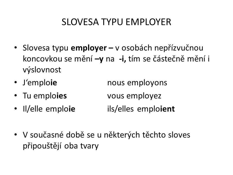 SLOVESA TYPU EMPLOYER Slovesa typu employer – v osobách nepřízvučnou koncovkou se mění –y na -i, tím se částečně mění i výslovnost J'emploienous emplo