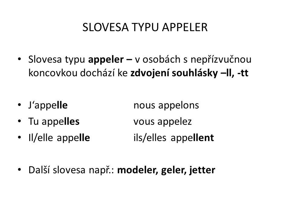 SLOVESA TYPU ESPÉRER Slovesa typu espérer – mění v osobách s nepřízvučnou koncovkou ostrý přízvuk nad -é na tupý přízvuk -è J'espèrenous espérons Tu espèresvous espérez Il/elle espèreils/elles espèrent
