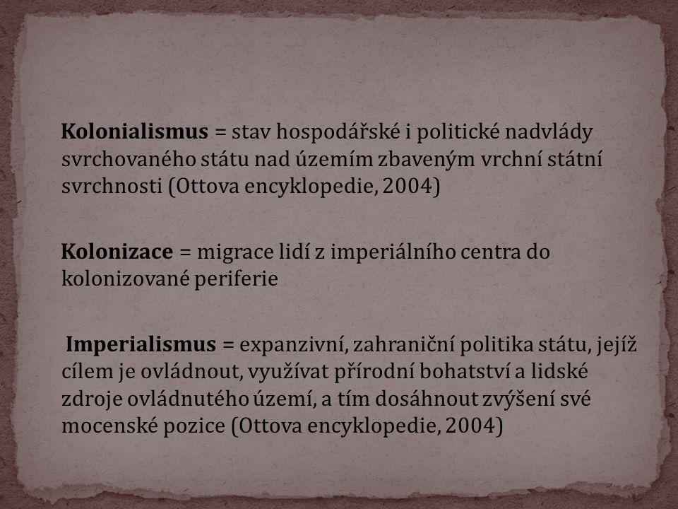 Kolonialismus = stav hospodářské i politické nadvlády svrchovaného státu nad územím zbaveným vrchní státní svrchnosti (Ottova encyklopedie, 2004) Kolo
