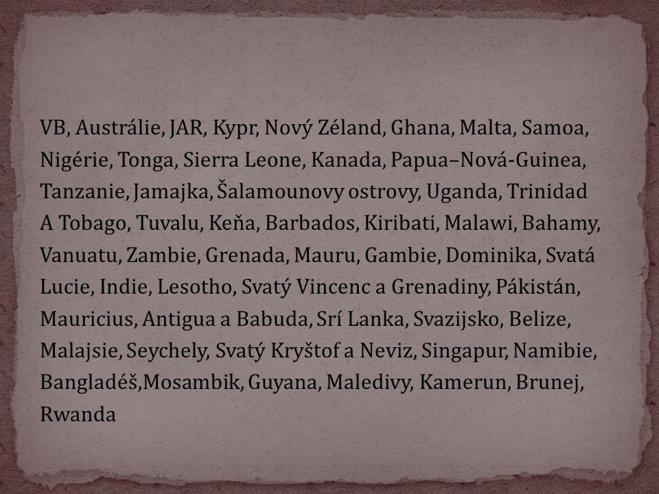 VB, Austrálie, JAR, Kypr, Nový Zéland, Ghana, Malta, Samoa, Nigérie, Tonga, Sierra Leone, Kanada, Papua–Nová-Guinea, Tanzanie, Jamajka, Šalamounovy os