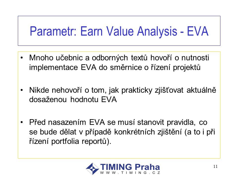 Parametr: Earn Value Analysis - EVA Mnoho učebnic a odborných textů hovoří o nutnosti implementace EVA do směrnice o řízení projektů Nikde nehovoří o tom, jak prakticky zjišťovat aktuálně dosaženou hodnotu EVA Před nasazením EVA se musí stanovit pravidla, co se bude dělat v případě konkrétních zjištění (a to i při řízení portfolia reportů).