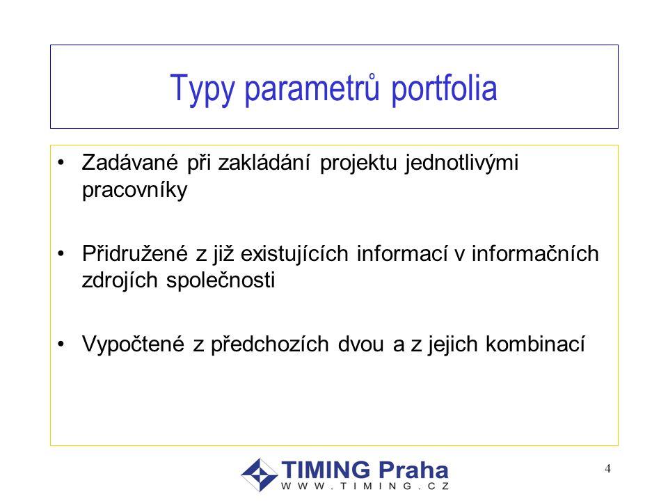 Typy parametrů portfolia Zadávané při zakládání projektu jednotlivými pracovníky Přidružené z již existujících informací v informačních zdrojích společnosti Vypočtené z předchozích dvou a z jejich kombinací 4