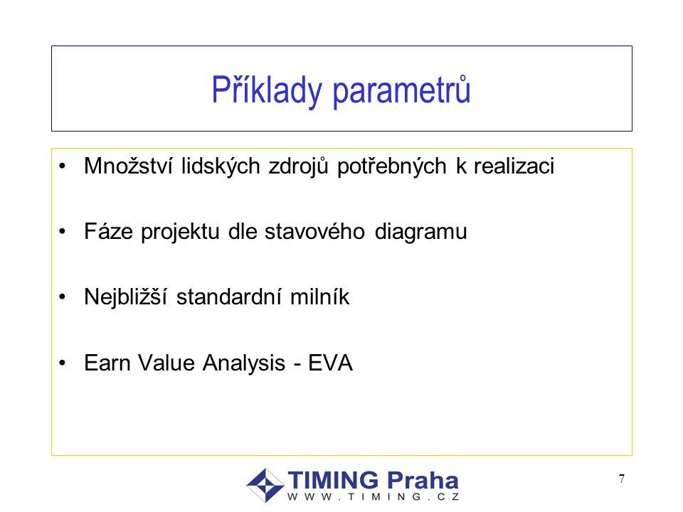 Příklady parametrů Množství lidských zdrojů potřebných k realizaci Fáze projektu dle stavového diagramu Nejbližší standardní milník Earn Value Analysis - EVA 7