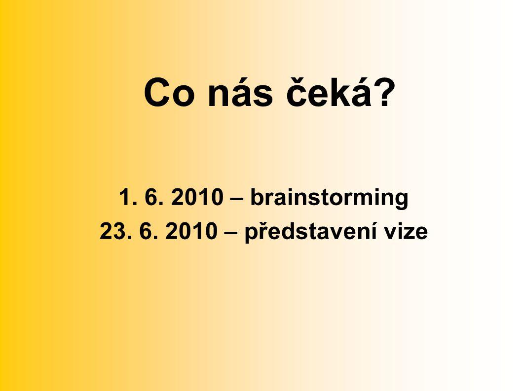 Co nás čeká 1. 6. 2010 – brainstorming 23. 6. 2010 – představení vize