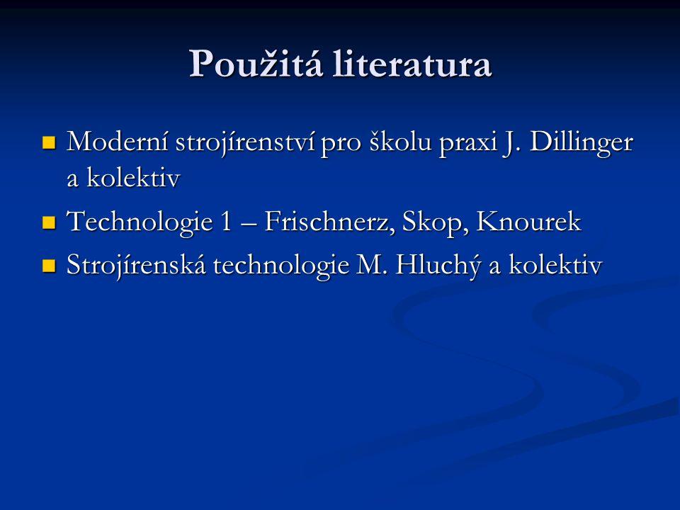 Použitá literatura Moderní strojírenství pro školu praxi J.