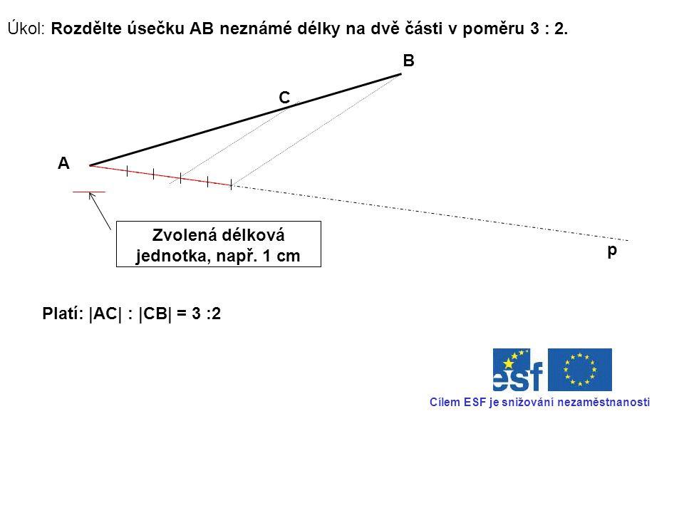 Úkol: Rozdělte úsečku AB neznámé délky na dvě části v poměru 3 : 2.