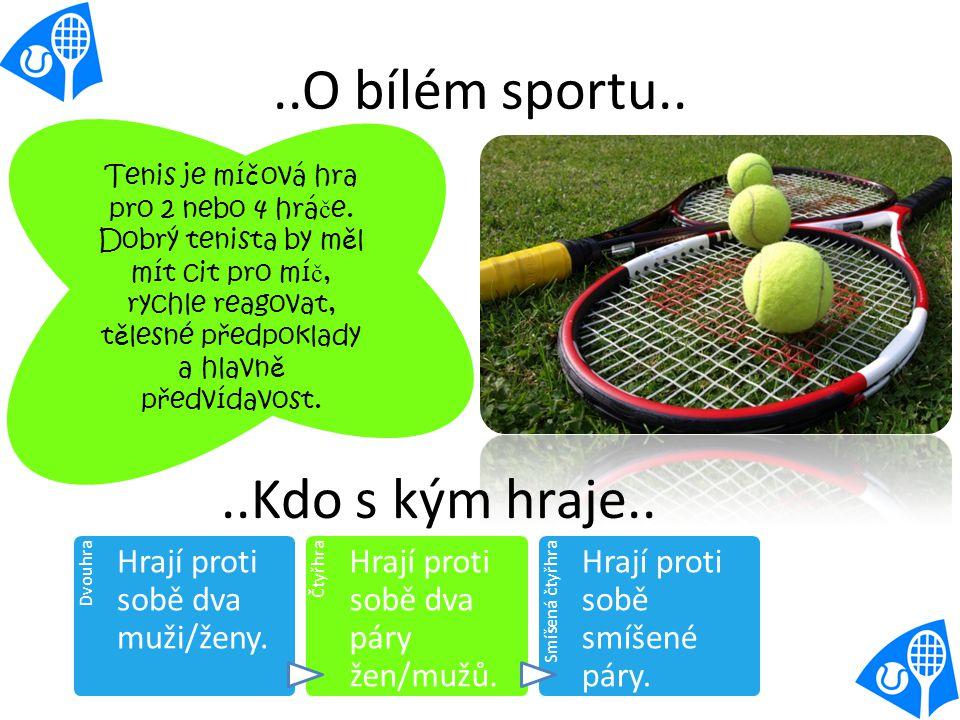 ..O bílém sportu.. Tenis je mí č ová hra pro 2 nebo 4 hrá č e.
