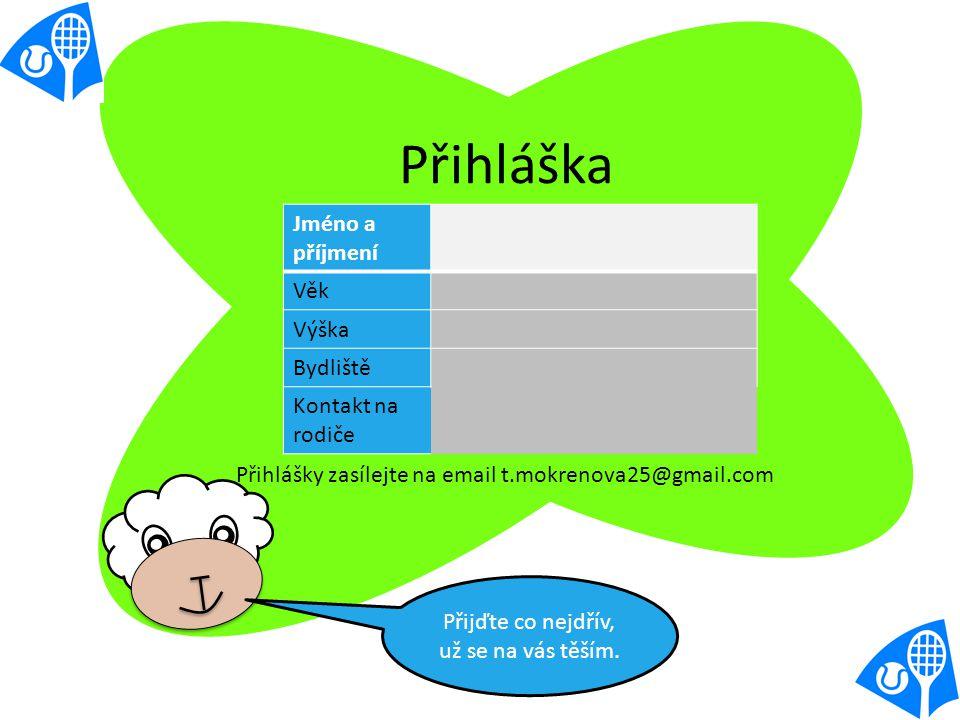 Jméno a příjmení Věk Výška Bydliště Kontakt na rodiče Přihláška Přihlášky zasílejte na email t.mokrenova25@gmail.com Přijďte co nejdřív, už se na vás těším.