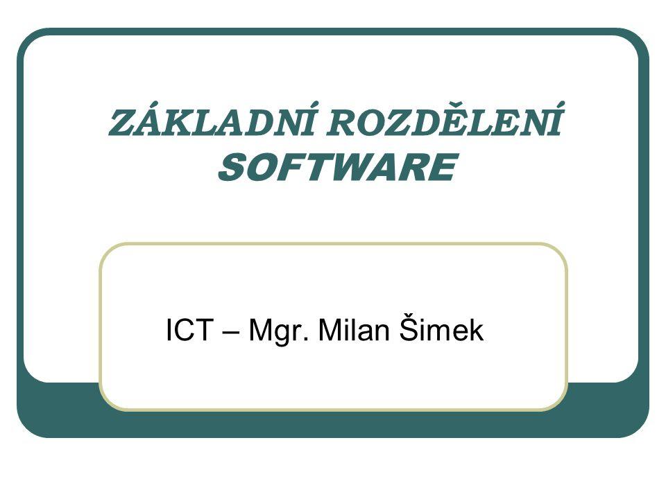 Rozdělení software Operační systém Aplikace Vývojářské nástroje