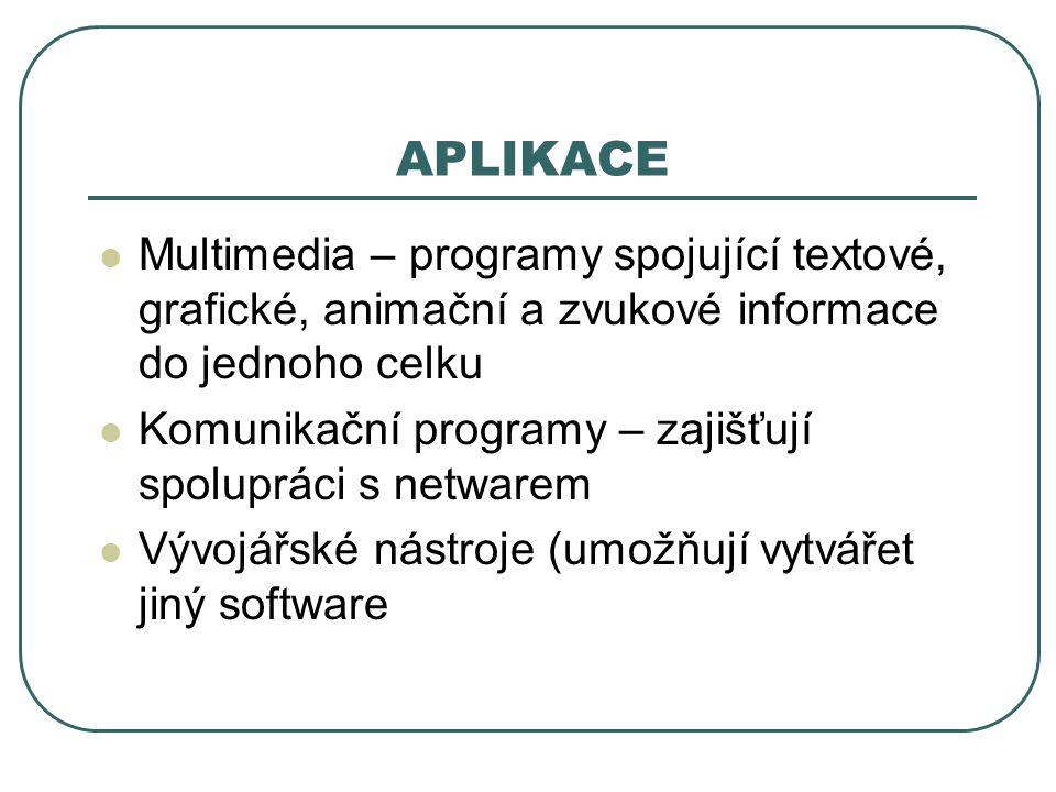 APLIKACE Multimedia – programy spojující textové, grafické, animační a zvukové informace do jednoho celku Komunikační programy – zajišťují spolupráci