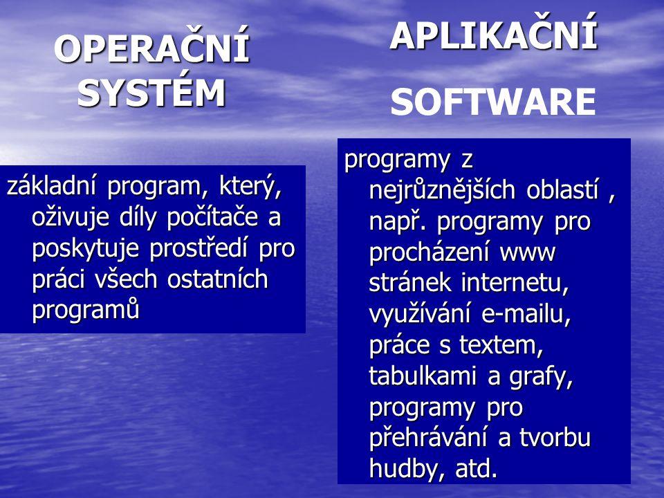 OPERAČNÍ SYSTÉM základní program, který, oživuje díly počítače a poskytuje prostředí pro práci všech ostatních programů programy z nejrůznějších oblas