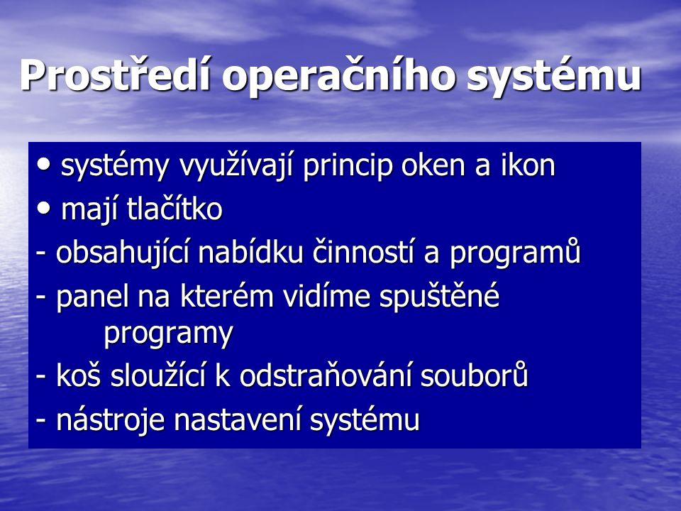 Prostředí operačního systému systémy využívají princip oken a ikon systémy využívají princip oken a ikon mají tlačítko mají tlačítko - obsahující nabí