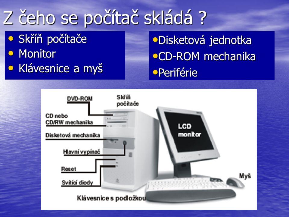 Z čeho se počítač skládá ? Skříň počítače Skříň počítače Monitor Monitor Klávesnice a myš Klávesnice a myš Disketová jednotka Disketová jednotka CD-RO