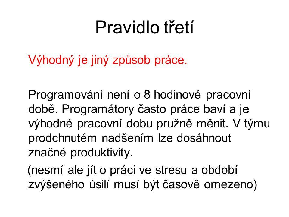 Pravidlo třetí Výhodný je jiný způsob práce. Programování není o 8 hodinové pracovní době. Programátory často práce baví a je výhodné pracovní dobu pr
