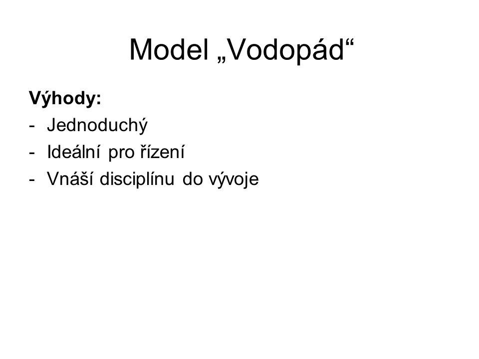 """Model """"Vodopád Výhody: -Jednoduchý -Ideální pro řízení -Vnáší disciplínu do vývoje"""
