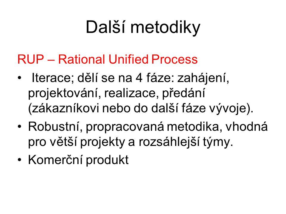 Další metodiky RUP – Rational Unified Process Iterace; dělí se na 4 fáze: zahájení, projektování, realizace, předání (zákazníkovi nebo do další fáze v