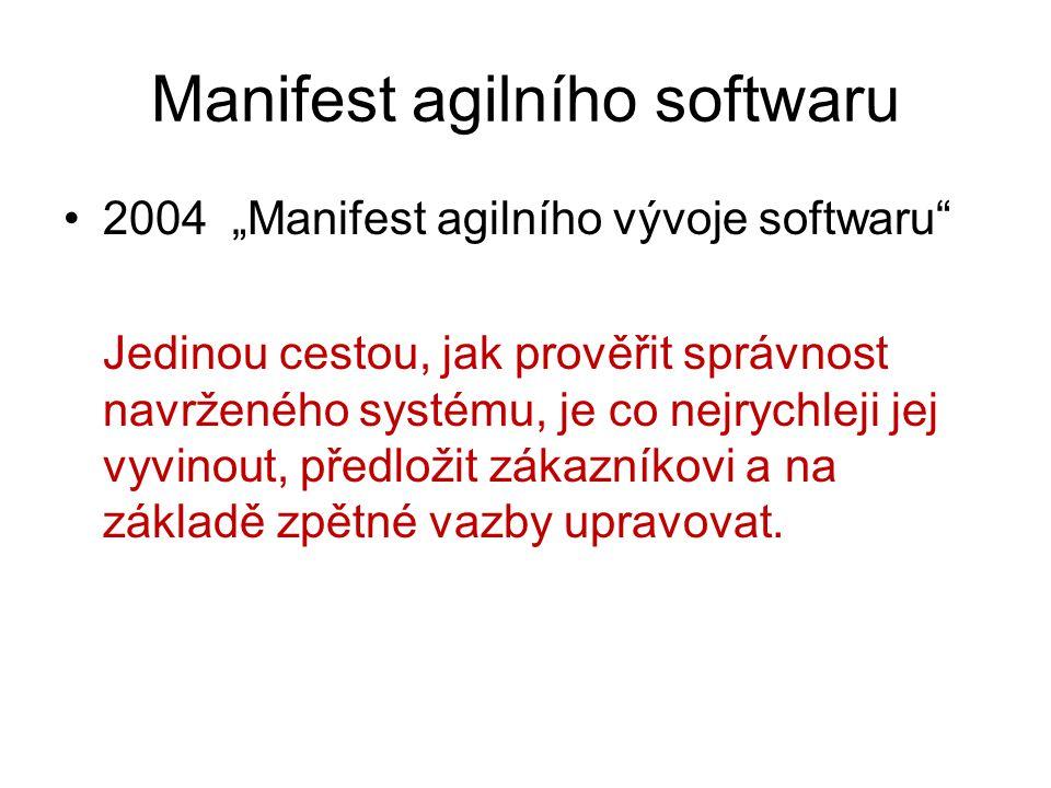 """Manifest agilního softwaru 2004 """"Manifest agilního vývoje softwaru"""" Jedinou cestou, jak prověřit správnost navrženého systému, je co nejrychleji jej v"""