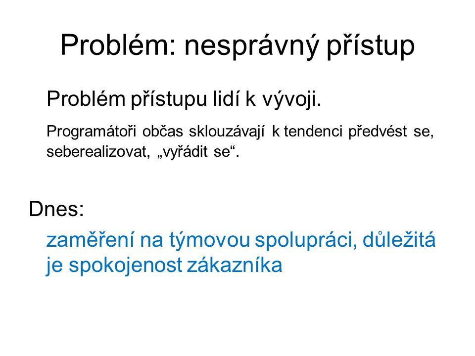 Problém: nesprávný přístup Problém přístupu lidí k vývoji.