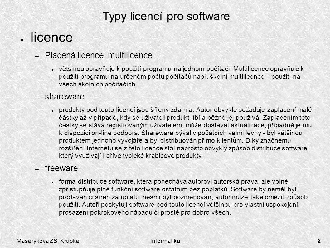 3 Masarykova ZŠ, KrupkaInformatika – public domain ● Licence, jejímž uvedením se autor vzdává kontroly nad publikovaným software - můžete jej volně šířit a používat, ale i měnit či zahrnout do svých aplikací.