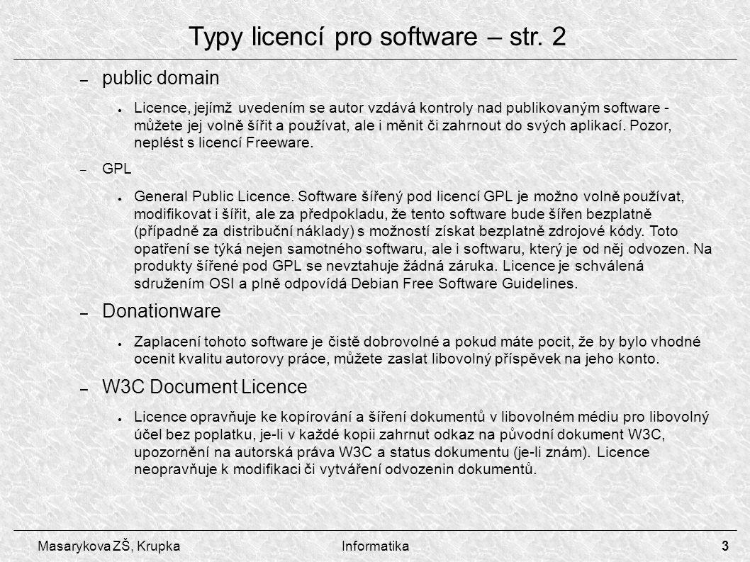 4 Masarykova ZŠ, KrupkaInformatika – Adware ● Užívání software šířeného pod touto licencí je bezplatné, ale v programu se zobrazuje reklama, ze které je jeho vývoj placen.