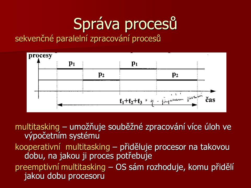 Správa procesů sekvenčné paralelní zpracování procesů multitasking – umožňuje souběžné zpracování více úloh ve výpočetním systému kooperativní multitasking – přiděluje procesor na takovou dobu, na jakou ji proces potřebuje preemptivní multitasking – OS sám rozhoduje, komu přidělí jakou dobu procesoru