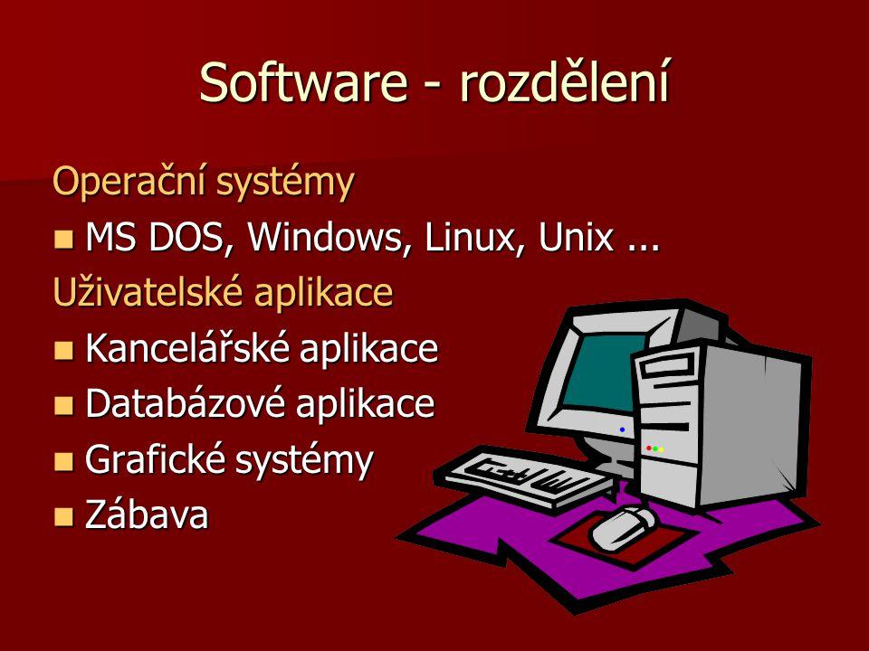 Software - rozdělení Operační systémy MS DOS, Windows, Linux, Unix...