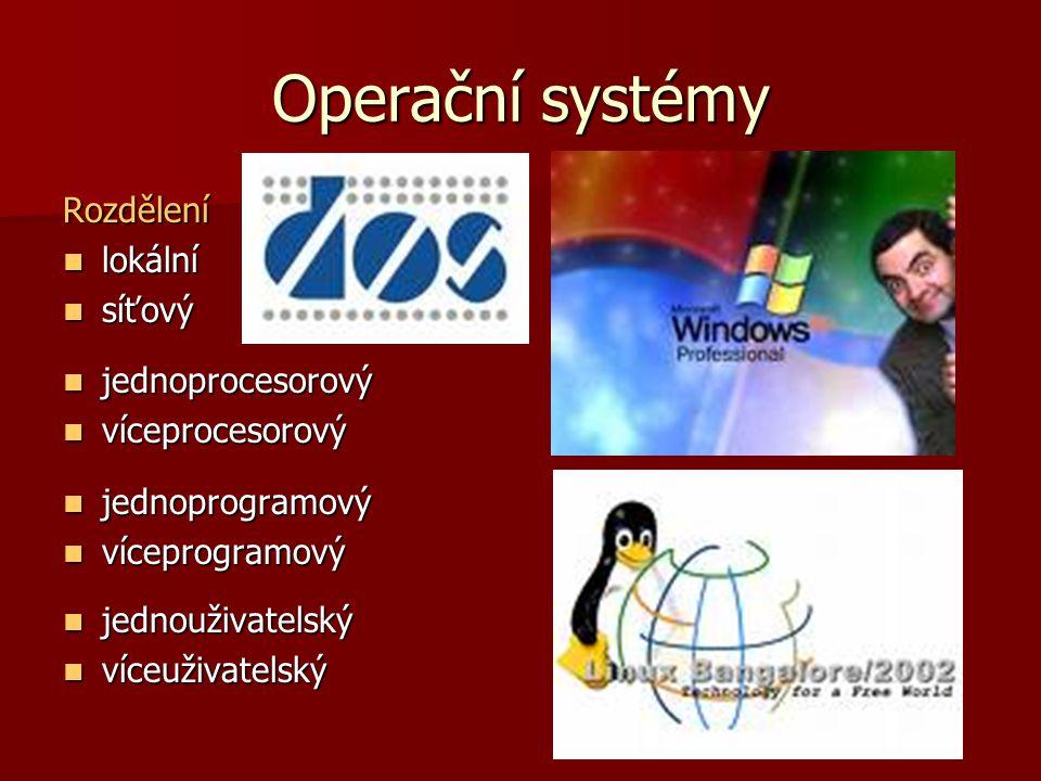 Operační systémy Bootování – zavádění operačního systému, OS je zaváděn téměř vždy z pevného disku, při poškození je možno nabootovat jádro OS z diskety nebo CD ROMu.