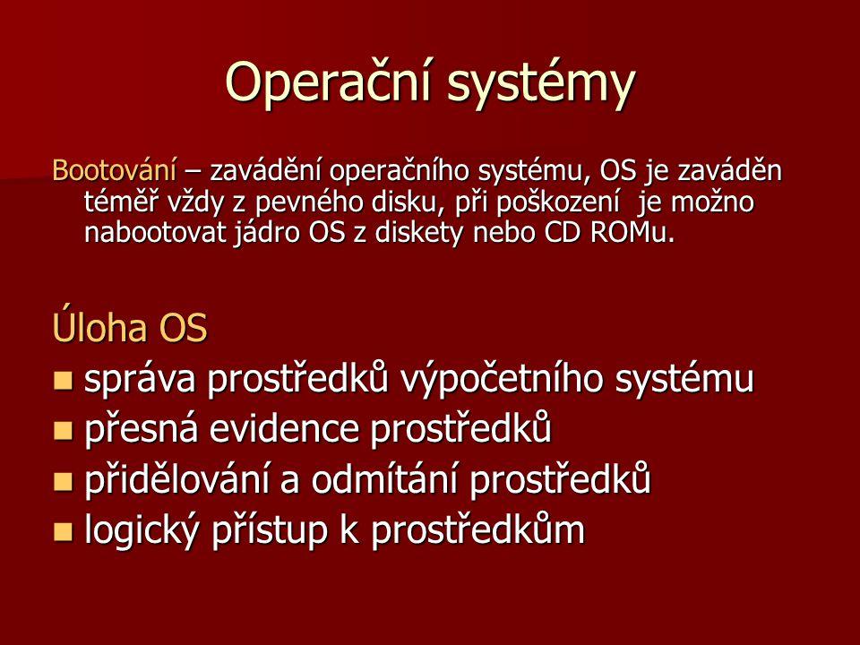 Operační systémy Funkce OS Uživatelské rozhraní Uživatelské rozhraní Správa paměti Správa paměti Správa procesů Správa procesů Správa I/O zařízení Správa I/O zařízení Správa souborů Správa souborů Správa uživatelů Správa uživatelů Správa systému Správa systému