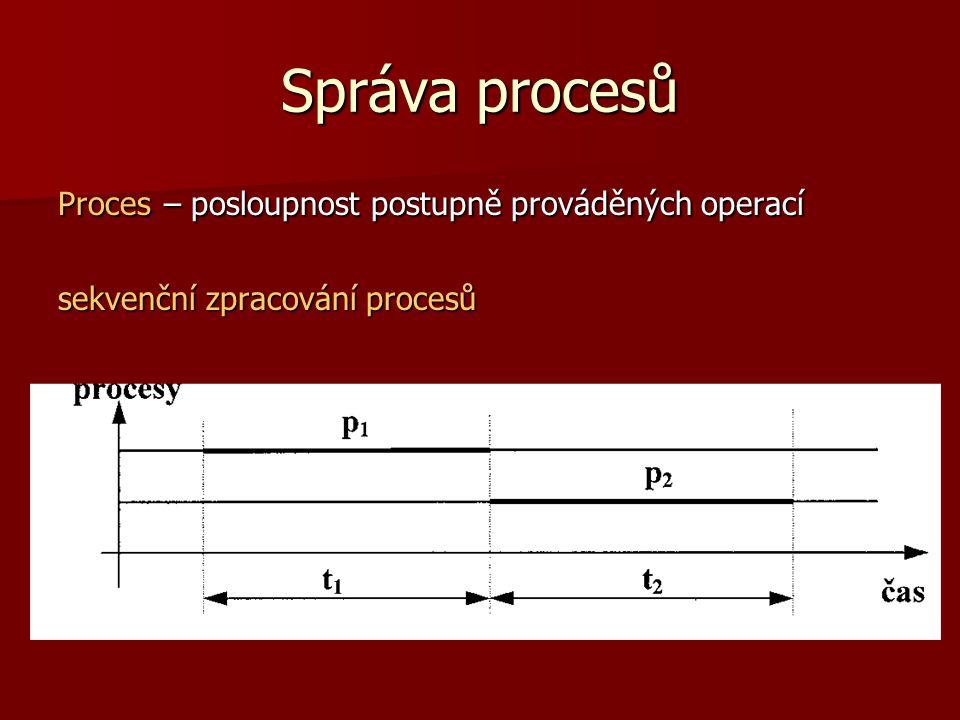 Správa procesů Proces – posloupnost postupně prováděných operací sekvenční zpracování procesů