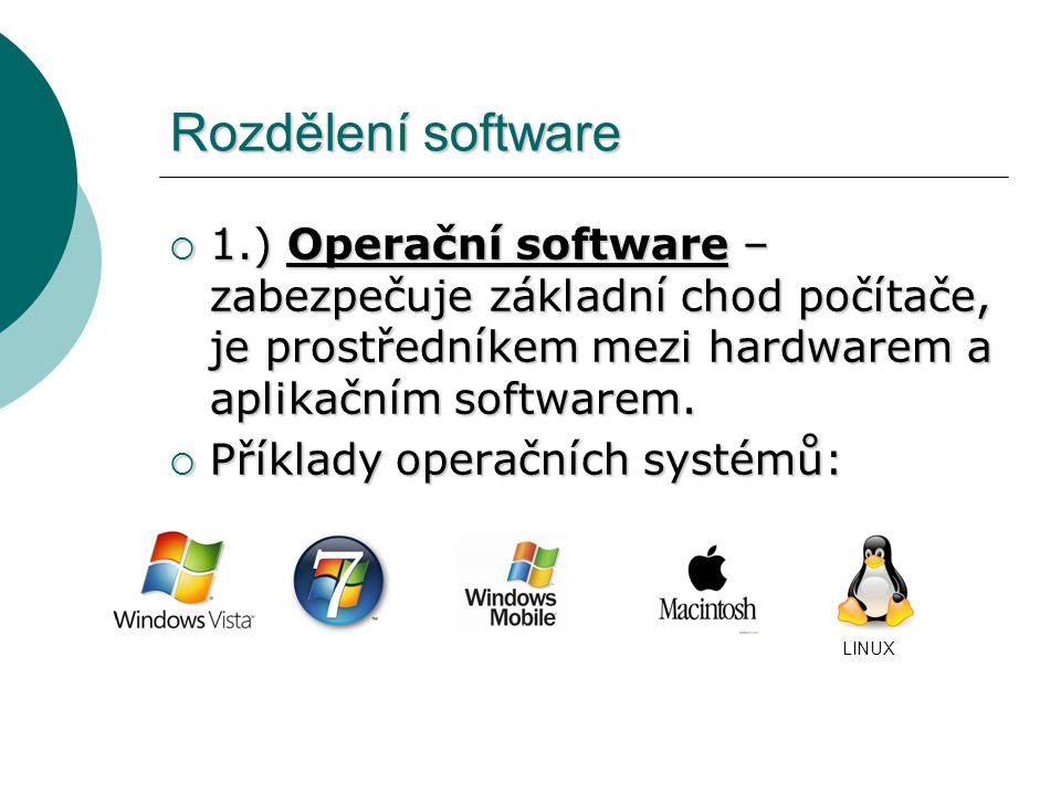 Rozdělení software  2.) Aplikační software – textový editor, grafický editor, tabulkový procesor, program pro posílání pošty, multimediální program, antivir, hry apod.
