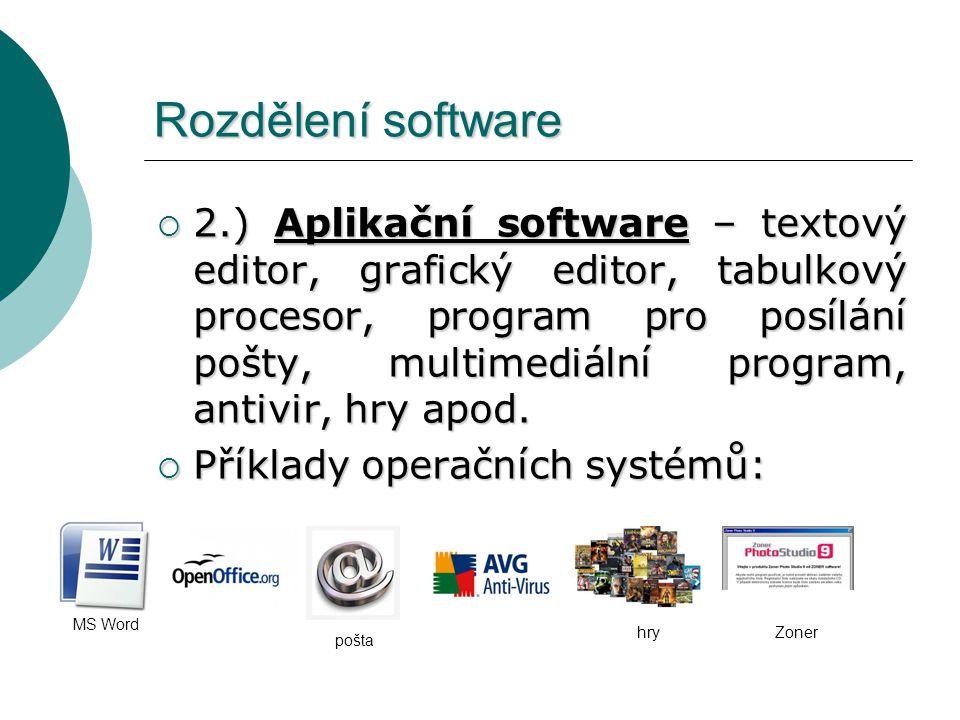 Rozdělení software  2.) Aplikační software – textový editor, grafický editor, tabulkový procesor, program pro posílání pošty, multimediální program,
