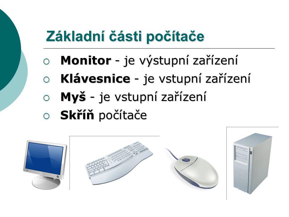 Základní části počítače  Skříň počítače  Monitor - je výstupní zařízení  Klávesnice - je vstupní zařízení  Myš - je vstupní zařízení