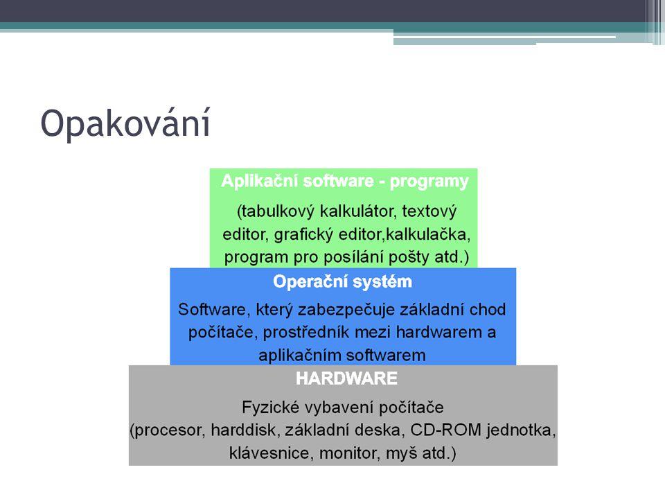APLIKAČNÍ SOFTWARE Kancelářské balíky Vývojové nástroje Zábavný software Grafické programy TEXTOVÝ EDITOR TABULKOVÝ EDITOR PREZENTACE PROGRAM VEKTOROVÝ GRAFICKÝ EDITOR Adobe Illustrator CorelDraw RASTROVÉ GRAFICKÝ EDITOR Adobe Photoshop Gimp VÝVOJOVÉ PROSTŘEDÍ Java PHP PŘEKLADAČE ENGINY POČÍTAČOVÉ HRY Přehrávače zvuku a videí Komunikační sw.