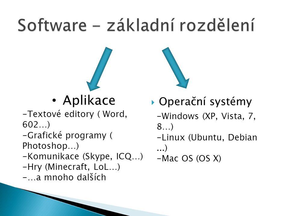  Operační systémy Aplikace -Textové editory ( Word, 602…) -Grafické programy ( Photoshop…) -Komunikace (Skype, ICQ…) -Hry (Minecraft, LoL…) -…a mnoho dalších -Windows (XP, Vista, 7, 8…) -Linux (Ubuntu, Debian...) -Mac OS (OS X)