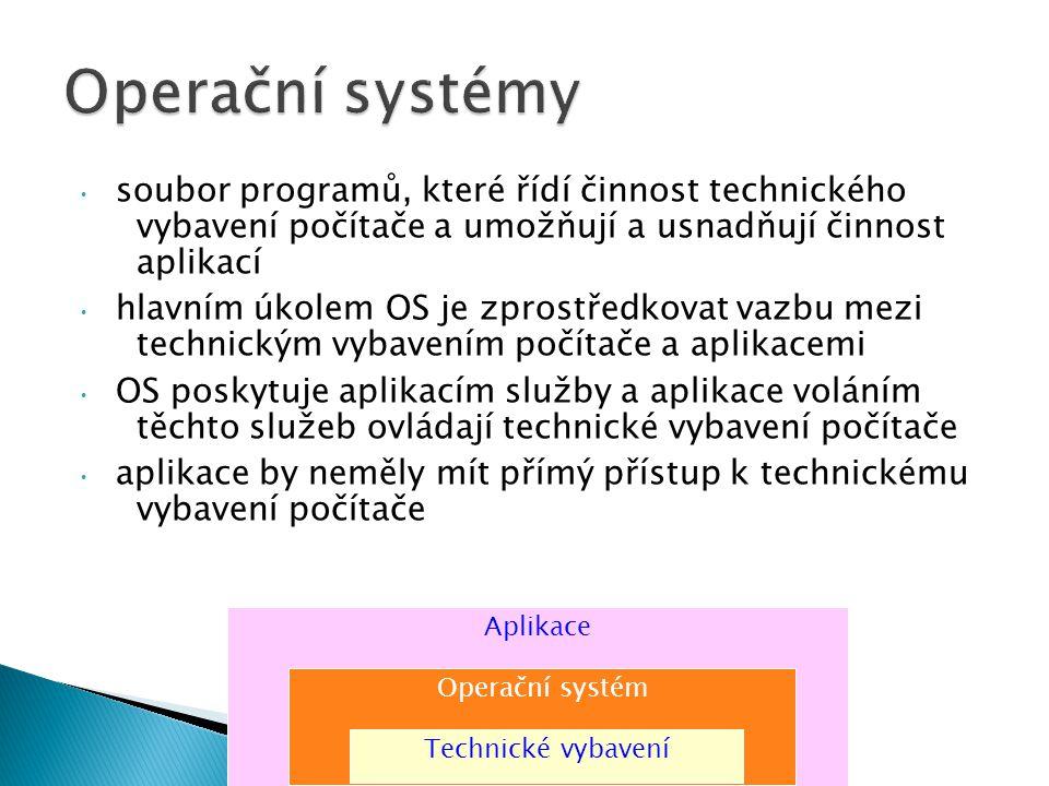 soubor programů, které řídí činnost technického vybavení počítače a umožňují a usnadňují činnost aplikací hlavním úkolem OS je zprostředkovat vazbu mezi technickým vybavením počítače a aplikacemi OS poskytuje aplikacím služby a aplikace voláním těchto služeb ovládají technické vybavení počítače aplikace by neměly mít přímý přístup k technickému vybavení počítače Aplikace Operační systém Technické vybavení