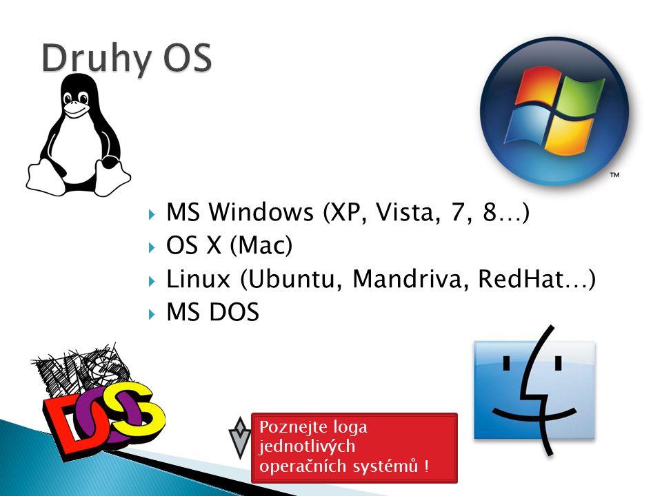  MS Windows (XP, Vista, 7, 8…)  OS X (Mac)  Linux (Ubuntu, Mandriva, RedHat…)  MS DOS Poznejte loga jednotlivých operačních systémů !