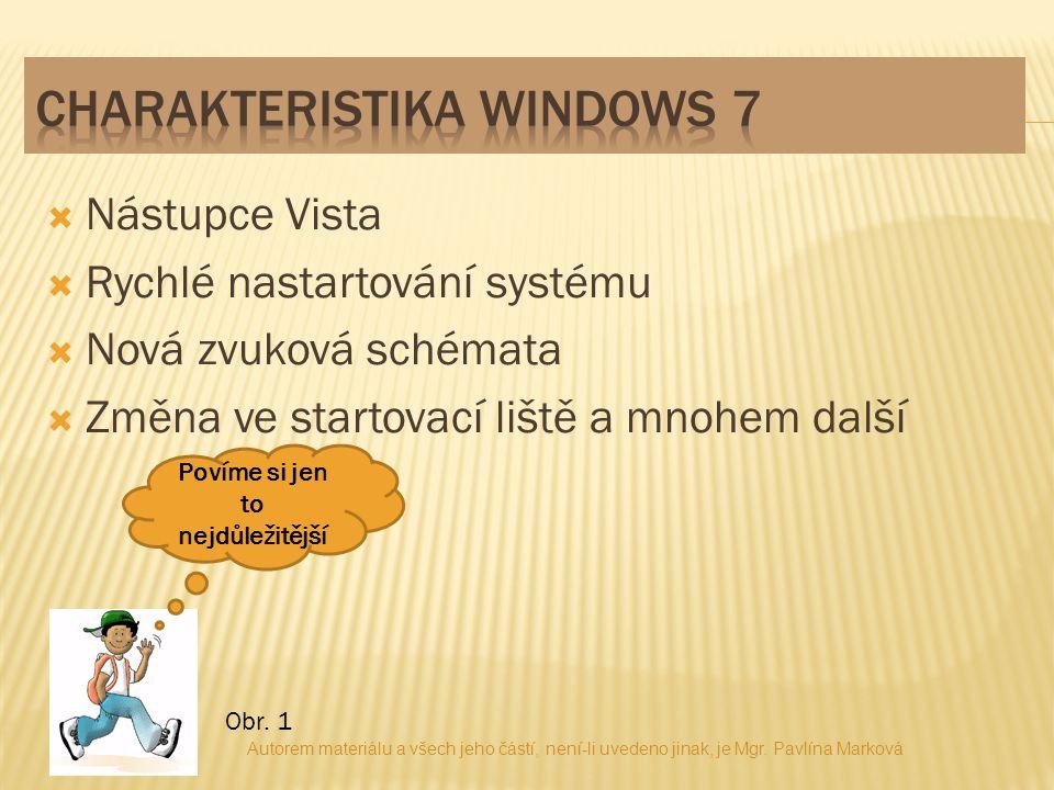  Nástupce Vista  Rychlé nastartování systému  Nová zvuková schémata  Změna ve startovací liště a mnohem další Povíme si jen to nejdůležitější Obr.