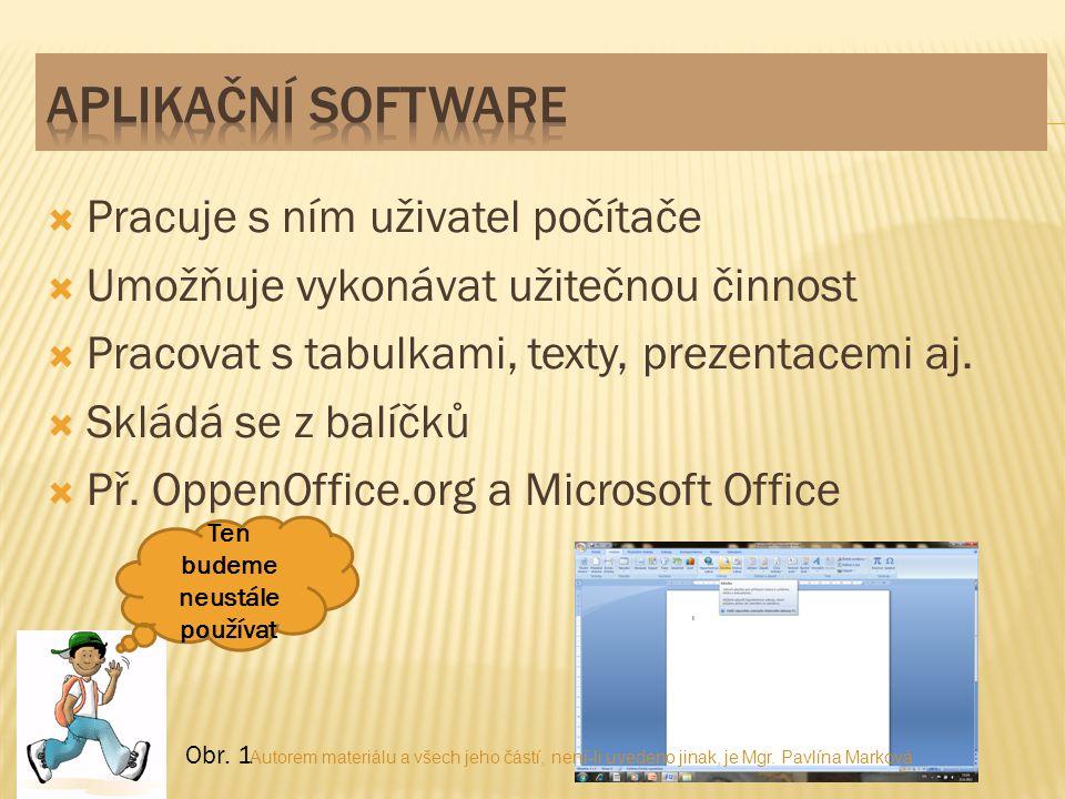  Pracuje s ním uživatel počítače  Umožňuje vykonávat užitečnou činnost  Pracovat s tabulkami, texty, prezentacemi aj.  Skládá se z balíčků  Př. O