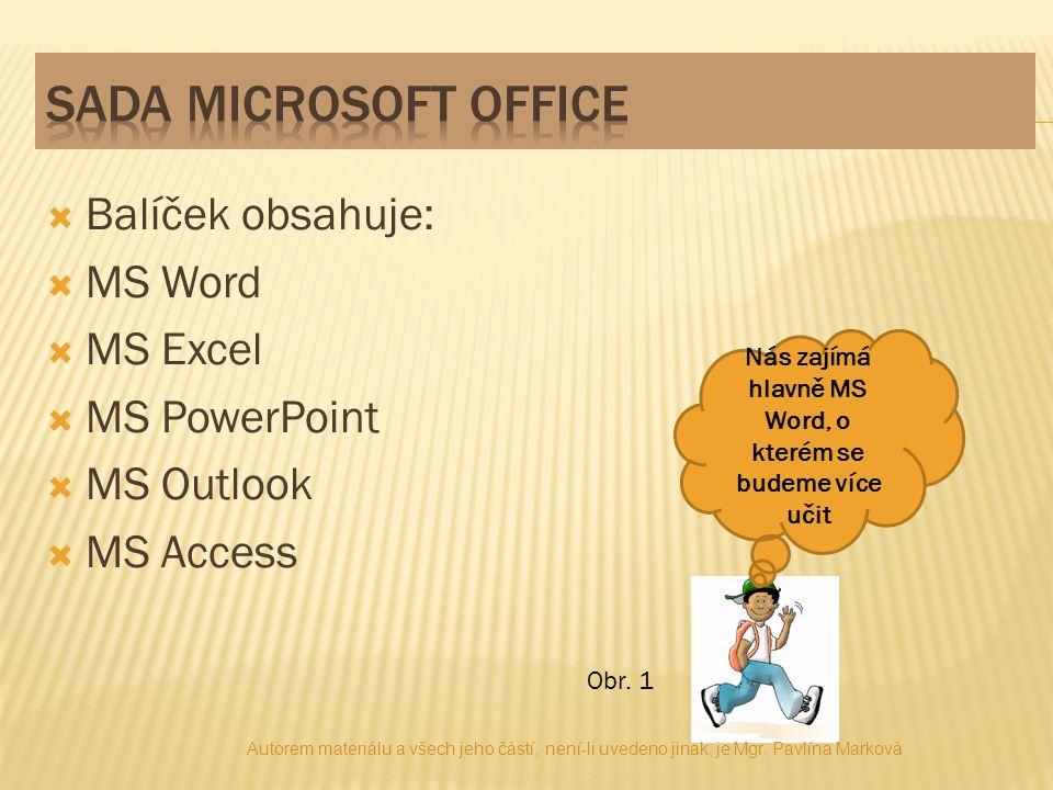  Balíček obsahuje:  MS Word  MS Excel  MS PowerPoint  MS Outlook  MS Access Nás zajímá hlavně MS Word, o kterém se budeme více učit Obr.