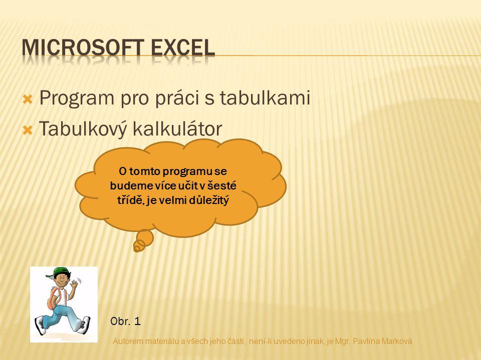  Program pro práci s tabulkami  Tabulkový kalkulátor O tomto programu se budeme více učit v šesté třídě, je velmi důležitý Obr.