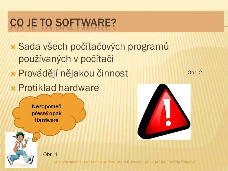  Sada všech počítačových programů používaných v počítači  Provádějí nějakou činnost  Protiklad hardware Nezapomeň přesný opak Hardware Obr. 2 Obr.