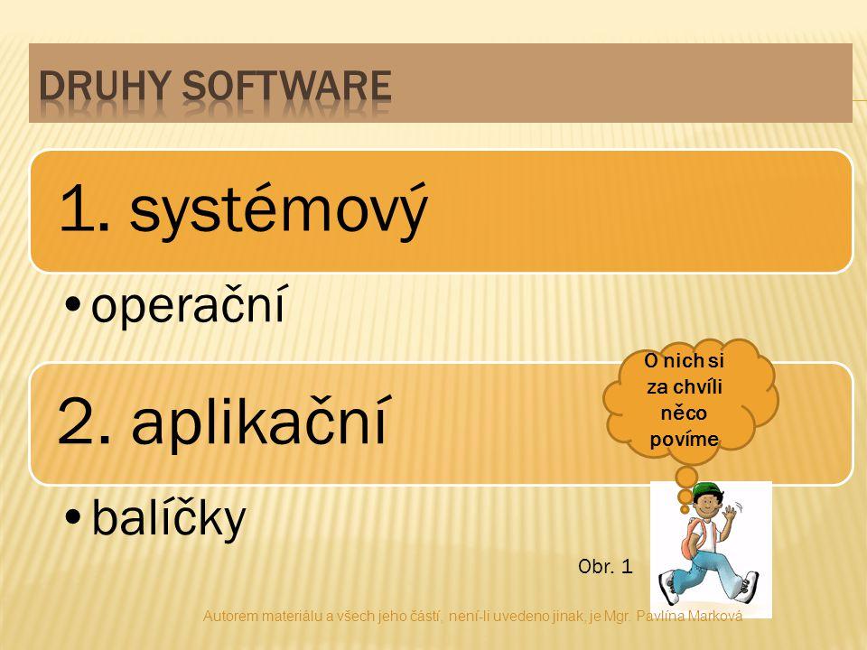  Zajišťuje samotný chod počítače  Umožňuje efektivní používání počítače  Patří sem operační systém = spravuje počítač Autorem materiálu a všech jeho částí, není-li uvedeno jinak, je Mgr.