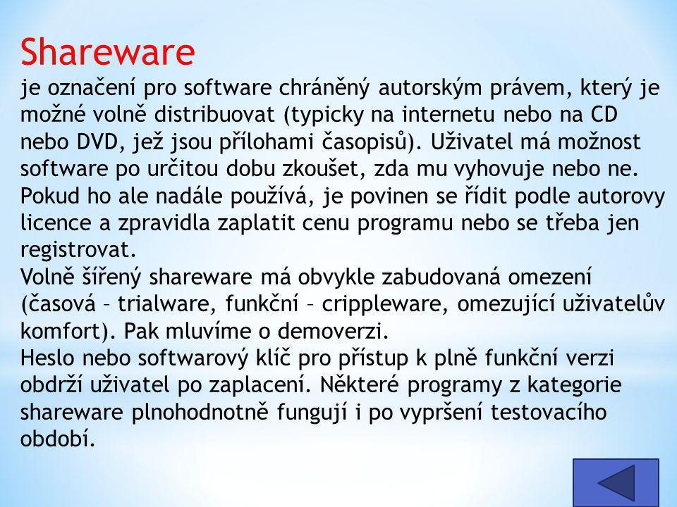 Shareware je označení pro software chráněný autorským právem, který je možné volně distribuovat (typicky na internetu nebo na CD nebo DVD, jež jsou př