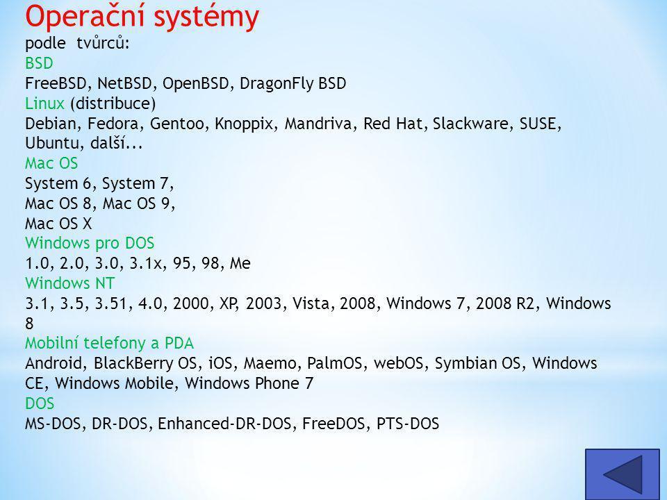 Operační systémy podle tvůrců: BSD FreeBSD, NetBSD, OpenBSD, DragonFly BSD Linux (distribuce) Debian, Fedora, Gentoo, Knoppix, Mandriva, Red Hat, Slackware, SUSE, Ubuntu, další...