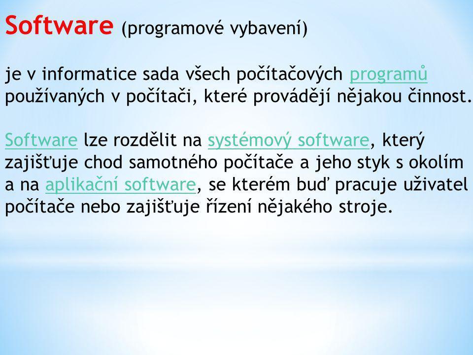 Software (programové vybavení) je v informatice sada všech počítačových programů používaných v počítači, které provádějí nějakou činnost.