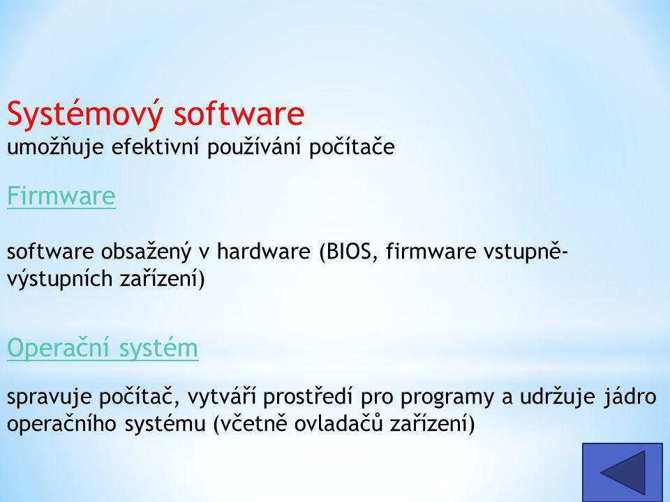 Systémový software umožňuje efektivní používání počítače Firmware Firmware software obsažený v hardware (BIOS, firmware vstupně- výstupních zařízení) Operační systém Operační systém spravuje počítač, vytváří prostředí pro programy a udržuje jádro operačního systému (včetně ovladačů zařízení)