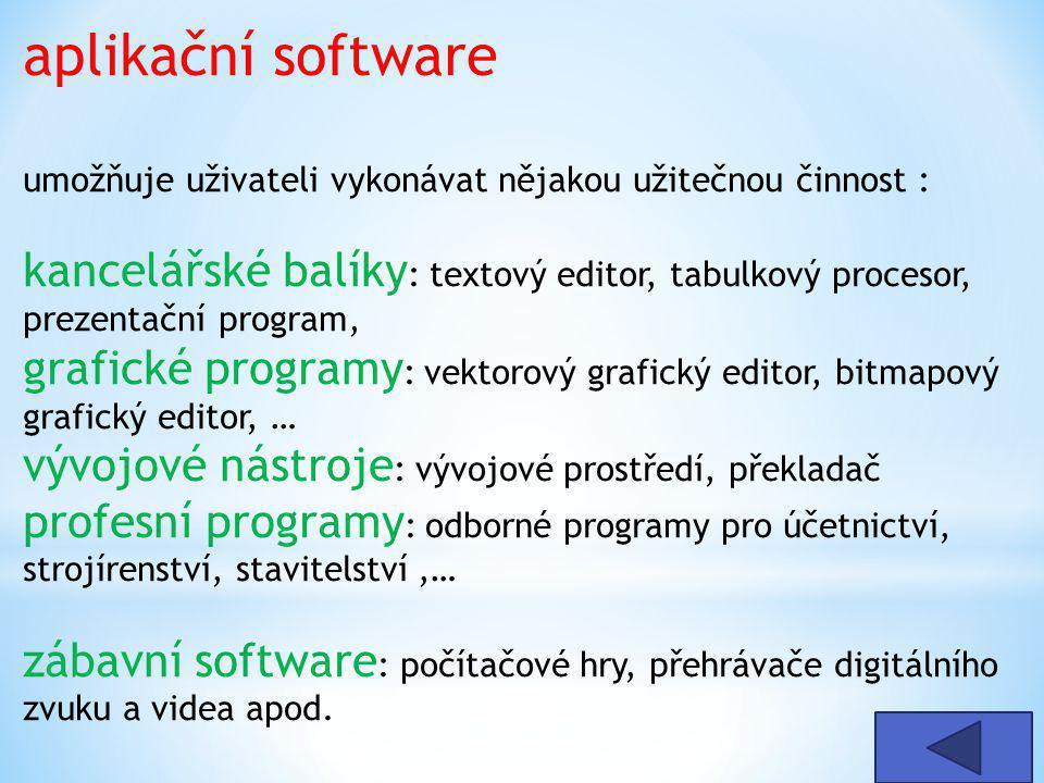 aplikační software umožňuje uživateli vykonávat nějakou užitečnou činnost : kancelářské balíky : textový editor, tabulkový procesor, prezentační program, grafické programy : vektorový grafický editor, bitmapový grafický editor, … vývojové nástroje : vývojové prostředí, překladač profesní programy : odborné programy pro účetnictví, strojírenství, stavitelství,… zábavní software : počítačové hry, přehrávače digitálního zvuku a videa apod.