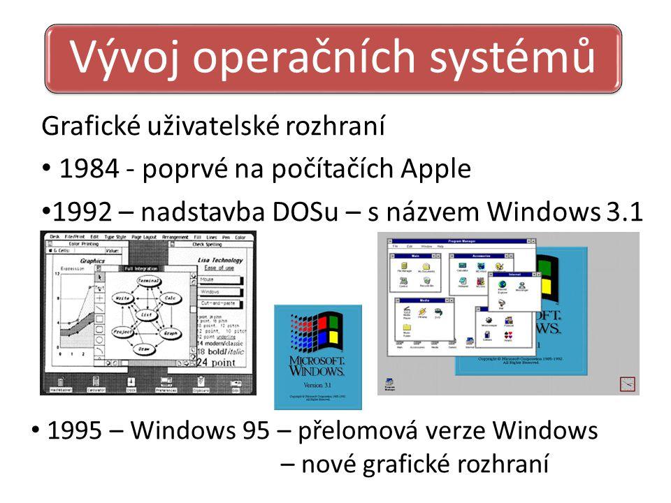 Vývoj operačních systémů Grafické uživatelské rozhraní 1984 - poprvé na počítačích Apple 1992 – nadstavba DOSu – s názvem Windows 3.1 1995 – Windows 95 – přelomová verze Windows – nové grafické rozhraní