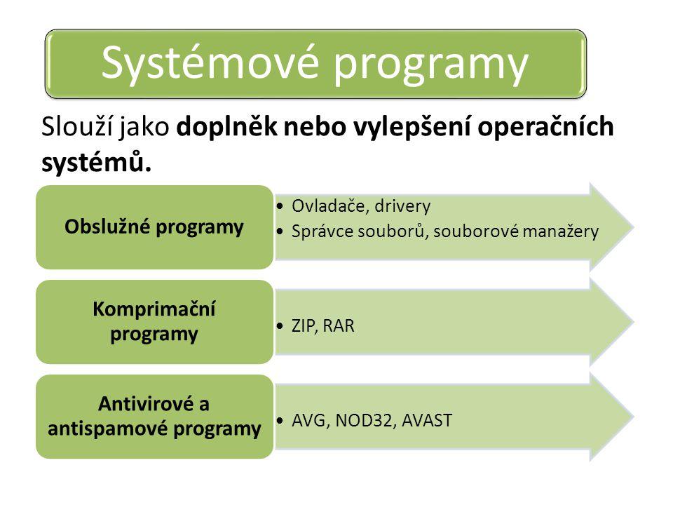 Slouží jako doplněk nebo vylepšení operačních systémů. Systémové programy Ovladače, drivery Správce souborů, souborové manažery Obslužné programy ZIP,